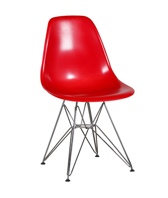 Eames Plastic Side Chair Wire Legs – Red