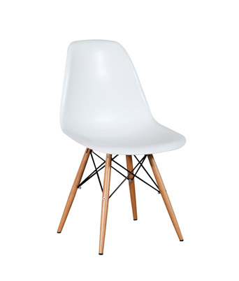 Eames Plastic Side Chair Dowel Legs – White