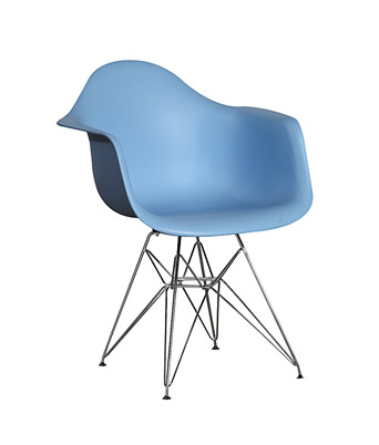 Eames Plastic Arm Chair Wire Legs – Blue
