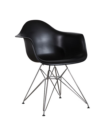 Eames Plastic Arm Chair Wire Legs – Black