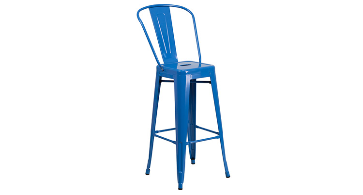 Marais Metal Barstool With Back – Blue