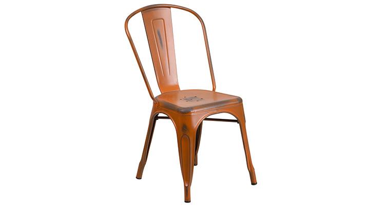 Marais Metal Chair – Distressed Orange